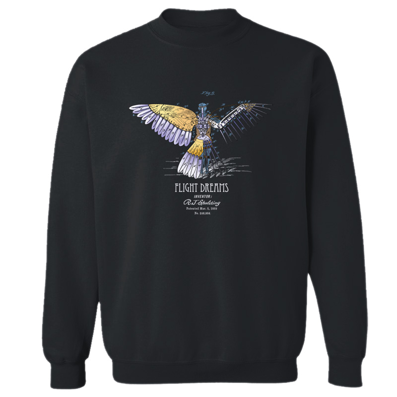 Flight Dreams Crewneck Sweatshirt BLACK