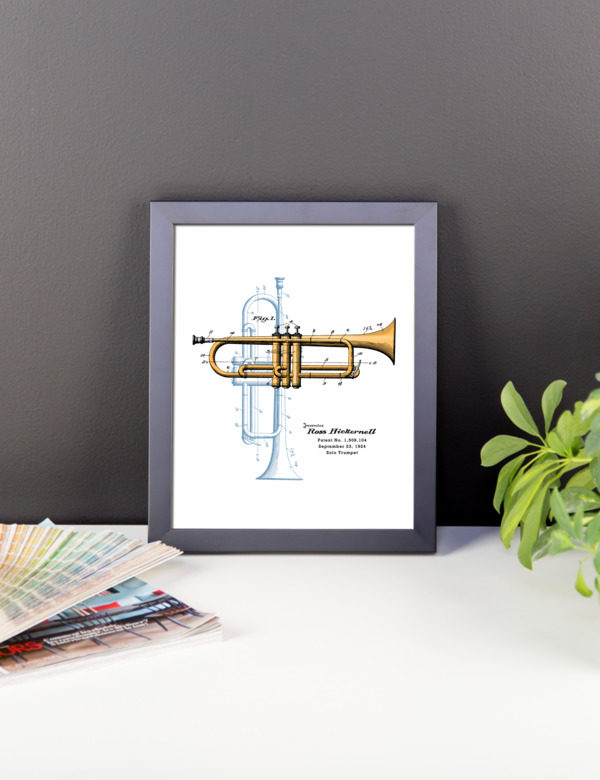 Trumpet Solo Wall Art 1 Framed 8x10