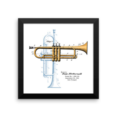 Trumpet Solo Wall Art 1 Framed 10x10