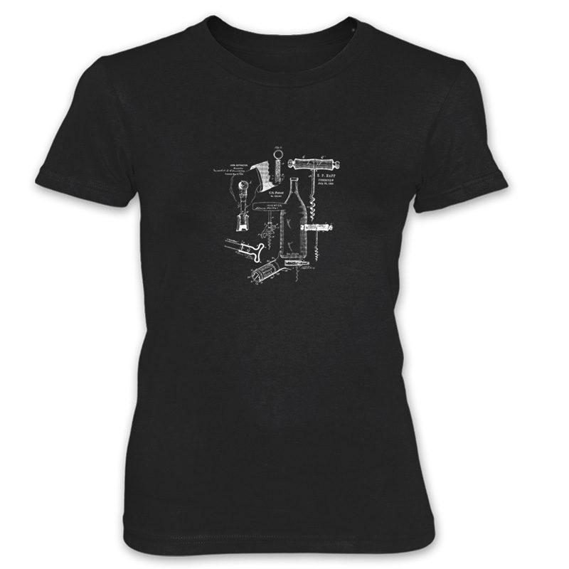 Corkscrew MS Lineart Women's T-Shirt BLACK