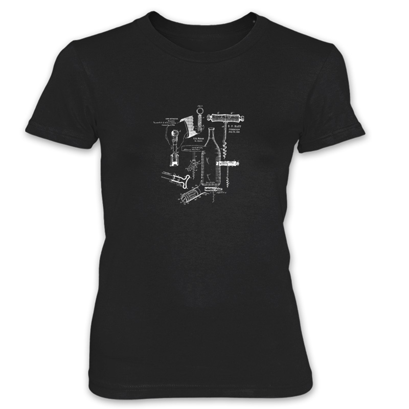 Corkscrew MS Lineart Women's T-Shirt BLACK