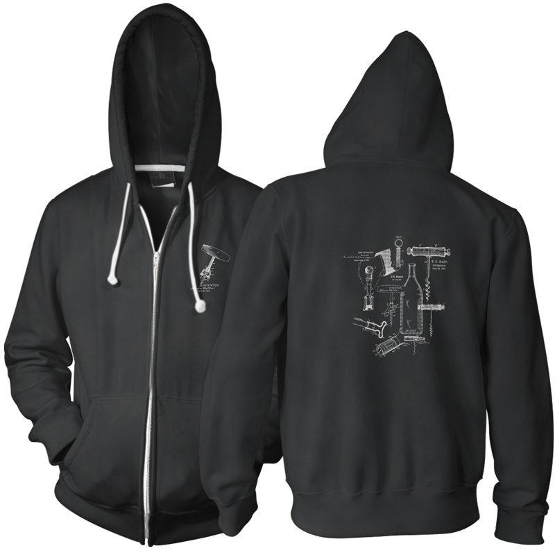 Corkscrew MS Lineart Zip Hoodie BLACK