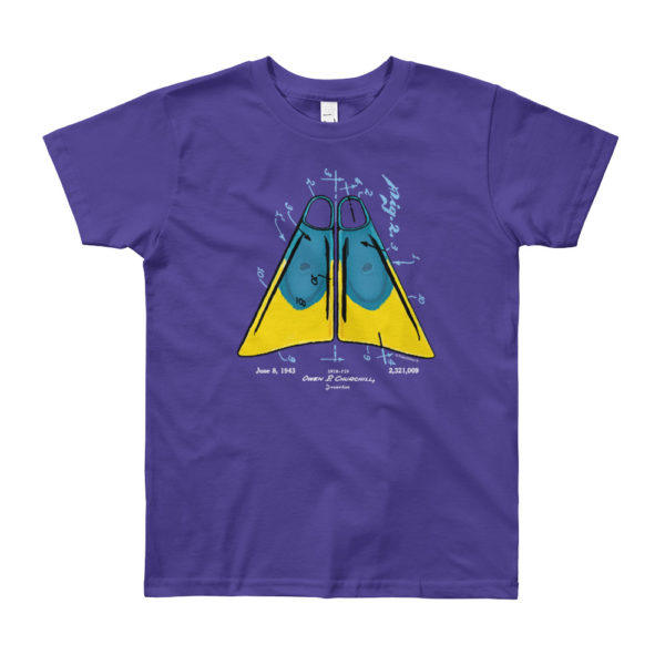 Churchill Fins Youth T-Shirt 10-12 yrs PURPLE
