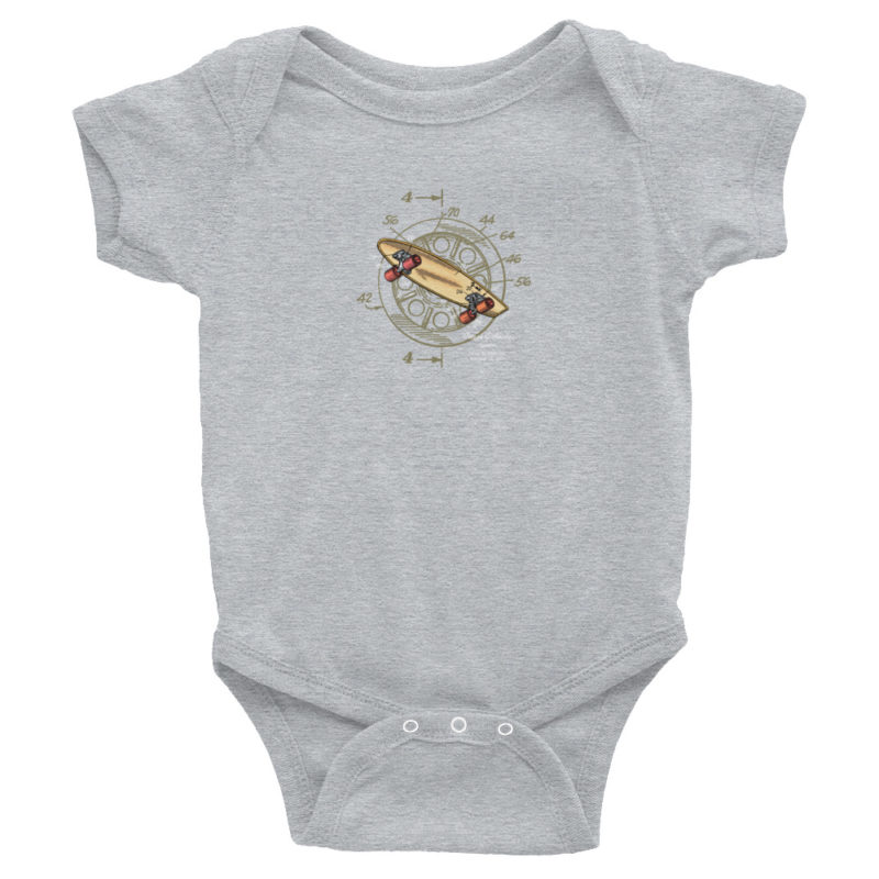 Skateboard-Wheels Wee Onesie HEATHER GREY