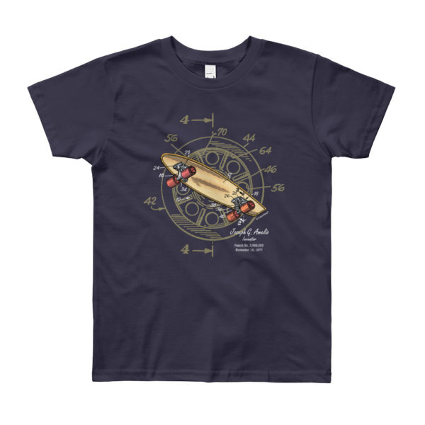 Skateboard-Wheels Patent Youth T-Shirt (8-12yrs) NAVY