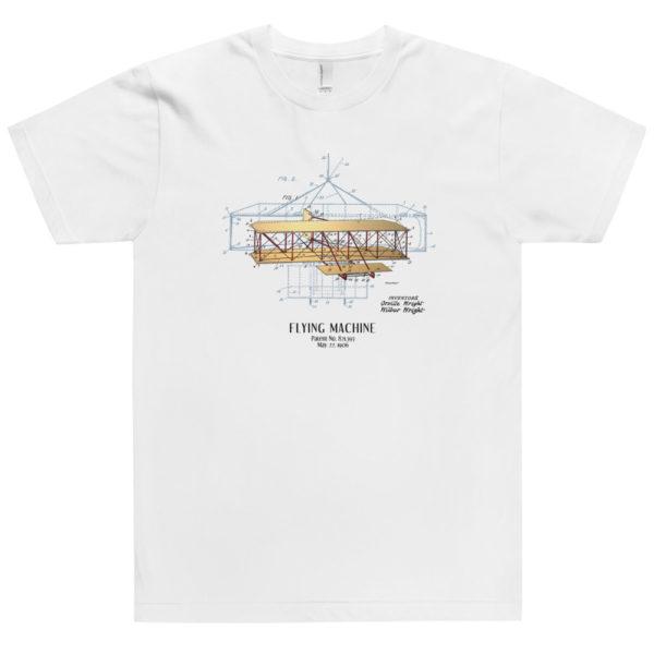 Flying Machine Patent T-Shirt USA WHITE