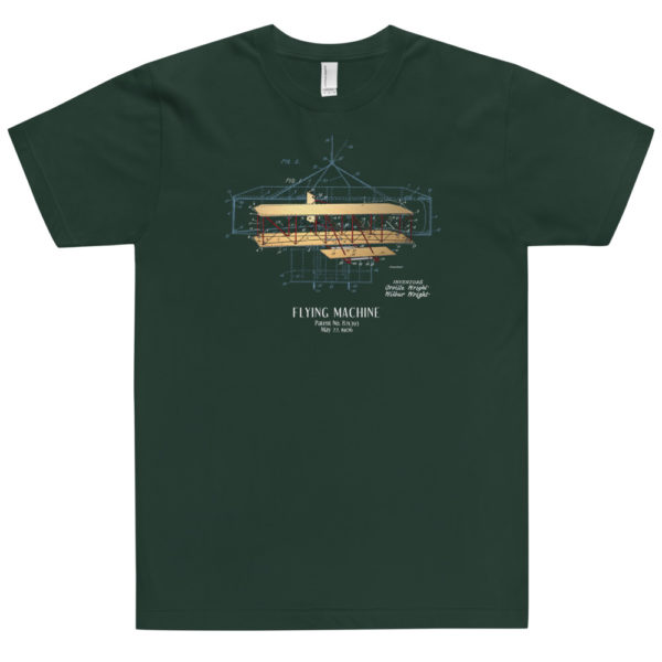 Flying Machine Patent T-Shirt USA FOREST