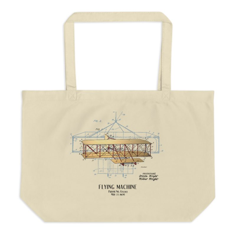 Flying Machine Patent Tote—Large Oyster