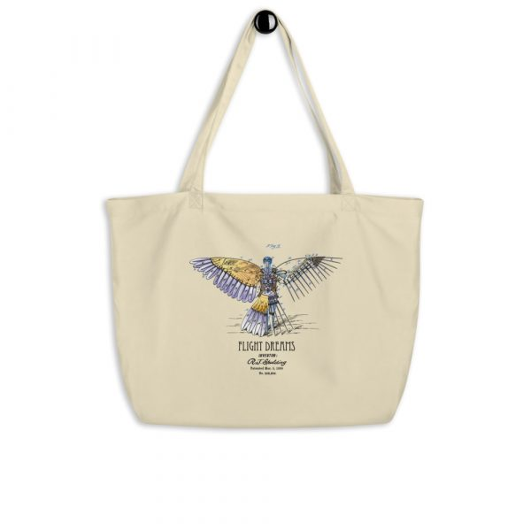 Flight Dreams Patent Tote—Large Oyster hanging