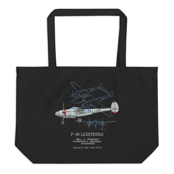P-38 Lightning Patent Tote—Large Black