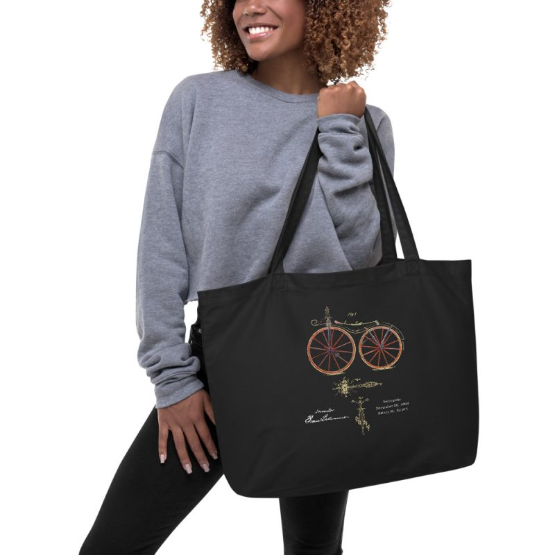 Velocipede Patent Tote Large in action