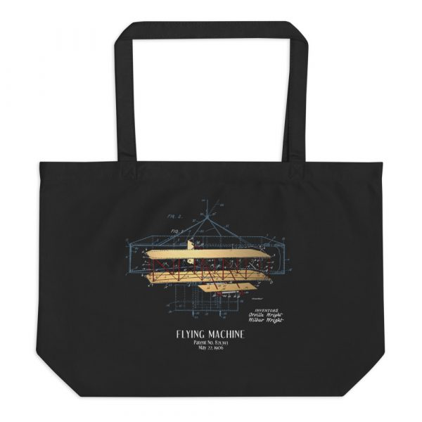 Flying Machine Patent Tote—Large Black