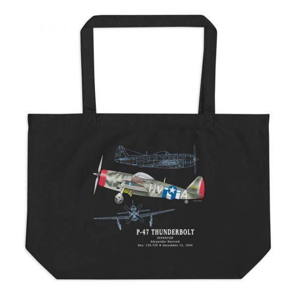 P-47 Thunderbolt Patent Tote—Large Black