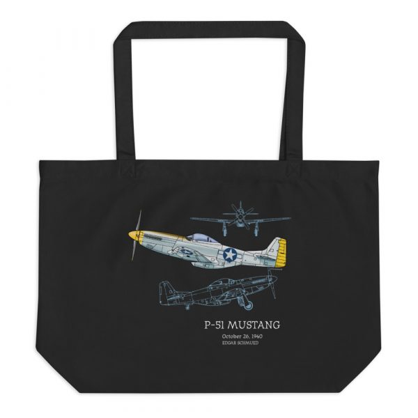 P-51 Mustang Tote Large Black