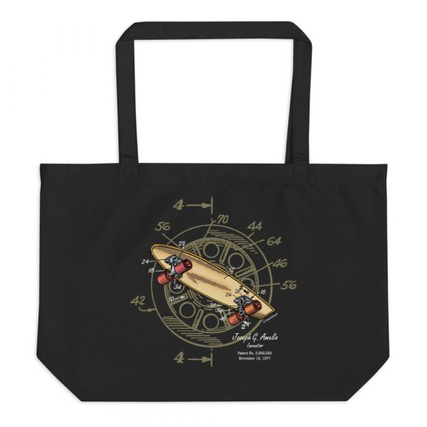 Skateboard-Wheels Patent Tote Large Black