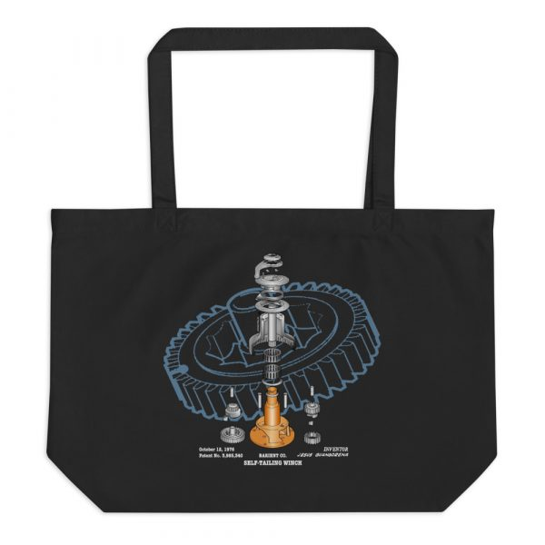 Winch Blowup Patent Tote Large Black