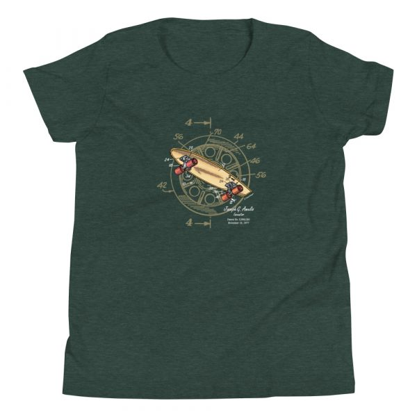 Skateboard-Wheels Patent Youth T-Shirt (8-12 yrs) Heather Forest