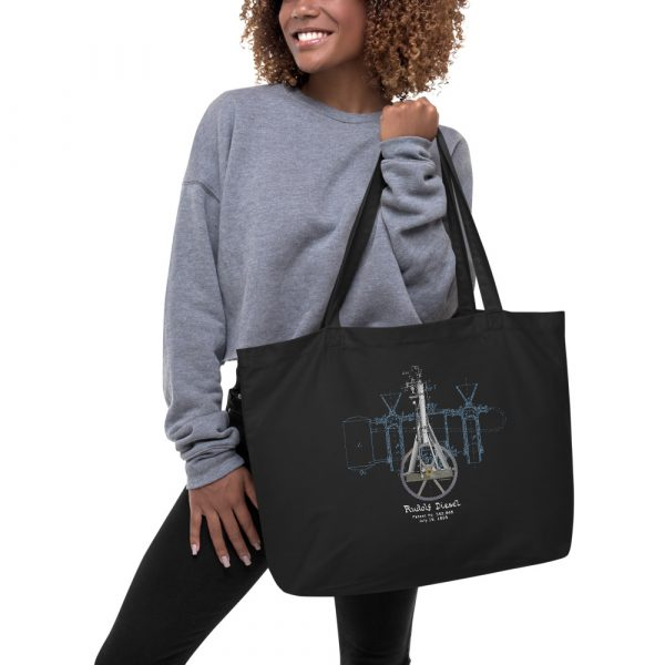 Diesel Engine Patent Tote Large Black in action