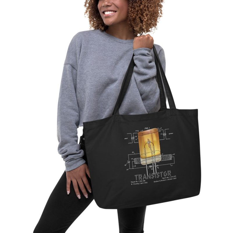 Transistor Patent Tote Large Black in action
