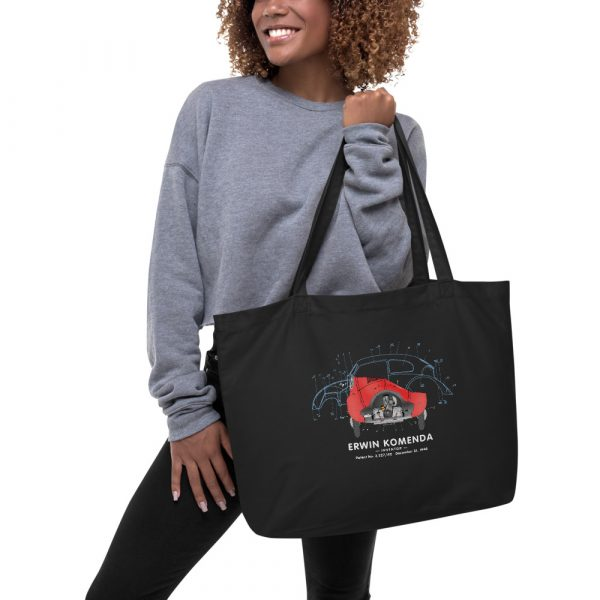 Vee Dub Bug Patent Tote Large Black in action