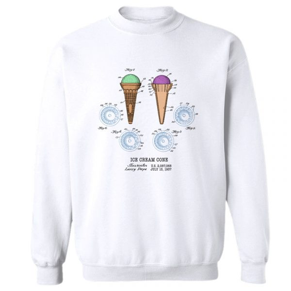 Ice Cream Cone Patent Crewneck SweatshirT WHITE