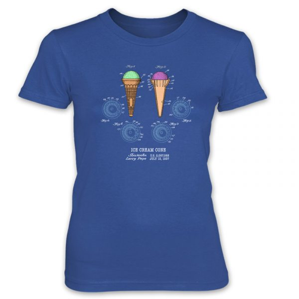 Ice Cream Cone Patent T-Shirt: Women ROYAL BLUE
