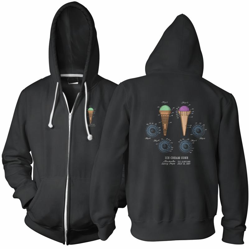 Ice Cream Cone Patent Zip Hoodie BLACK